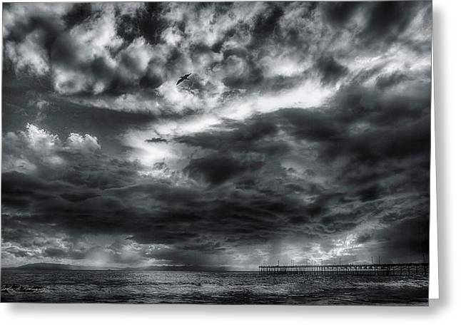 Storm Clouds Ventura Ca Pier Greeting Card
