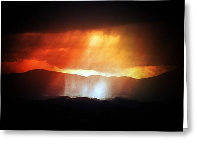 Storm Glow Night Over Santa Fe Mountains Greeting Card