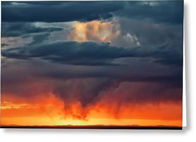Storm Light Beam, Albuquerque, New Mexico Greeting Card
