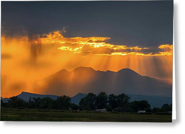 Storm Of Gold Greeting Card