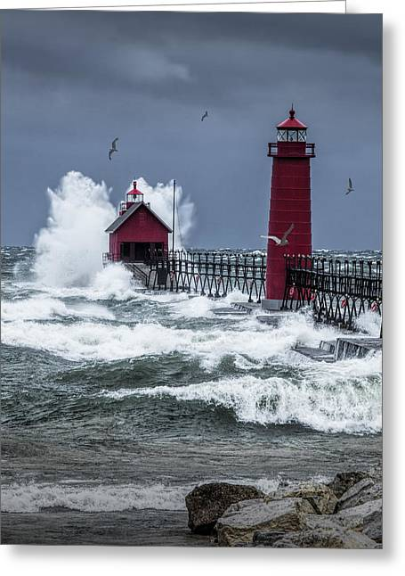 Storm On Lake Michigan By The Grand Haven Lighthouse With Flying Gulls Greeting Card