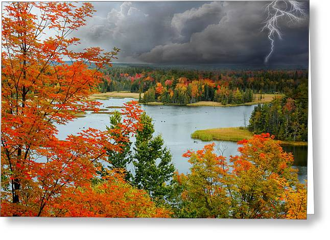 Storm Over Ausable River Greeting Card