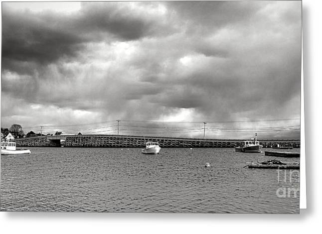 Storm Over Bailey Island Greeting Card by Olivier Le Queinec