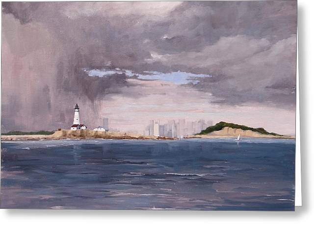 Storm Over Boston Greeting Card