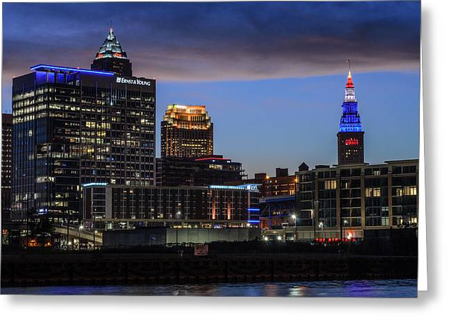Storm Over Cleveland Greeting Card