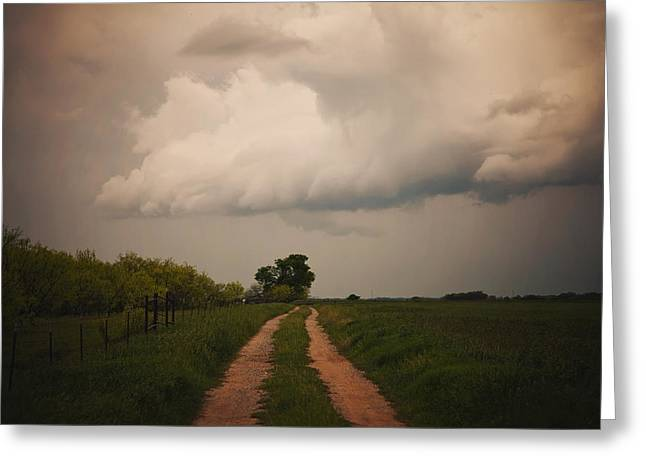 Storm Over Country Road Greeting Card by Toni Hopper