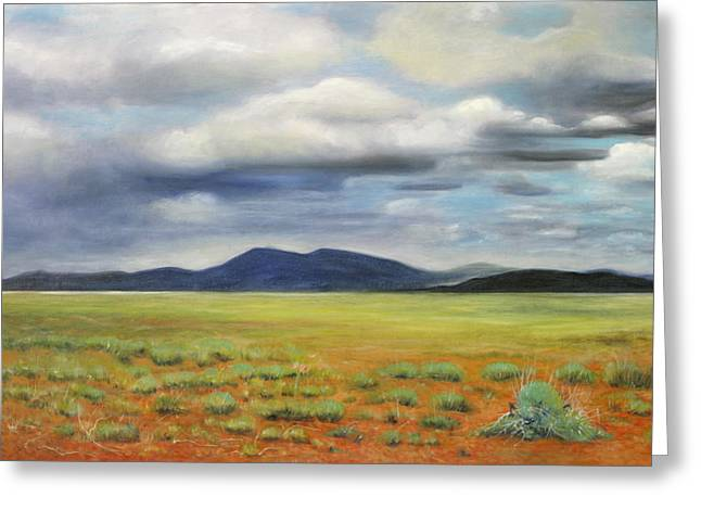 Storm Over Desert Greeting Card by Max Mckenzie