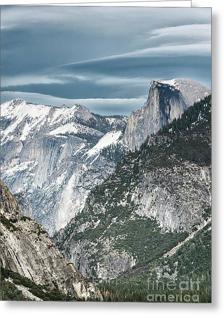 Storm Over Half Dome Greeting Card by Sandra Bronstein