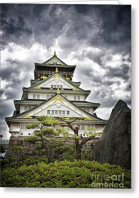 Storm Over Osaka Castle Greeting Card by Jane Rix