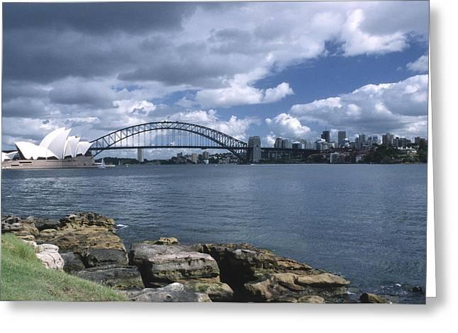 International Travel Greeting Cards - Storm Over Sydney Harbor Greeting Card by Sandra Bronstein