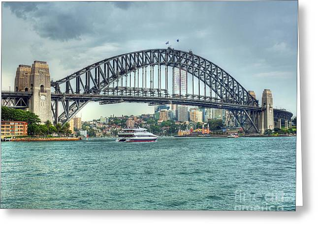 Storm Over Sydney Harbour Bridge Greeting Card by Chris Smith