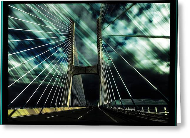 Storm Over The Bridge  Greeting Card
