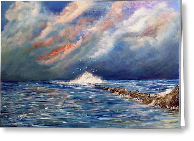 Storm Over The Ocean Greeting Card