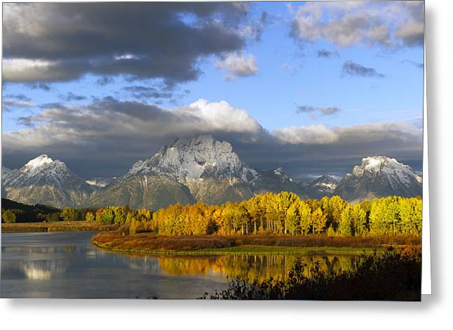 Storm Over The Ox Bow And Mt Moran Greeting Card by Gary Langley
