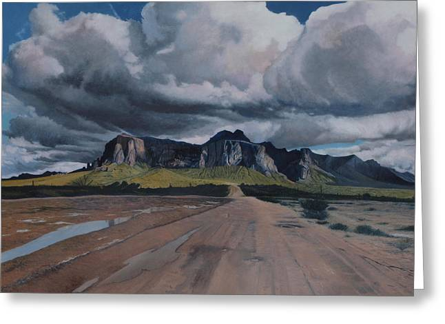 Storm Over The Superstitions Greeting Card