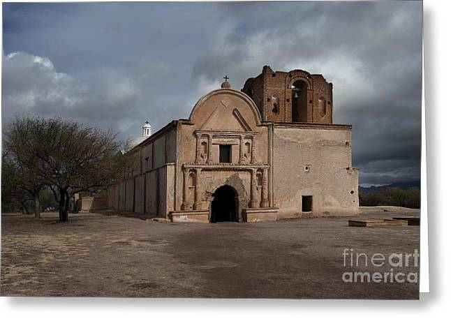 Storm Over Tumacacori Greeting Card by Sandra Bronstein