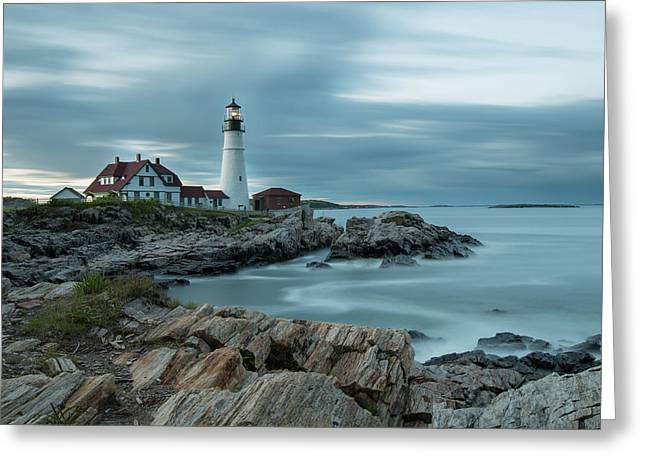 Storm Passing At Portland Head Light Greeting Card
