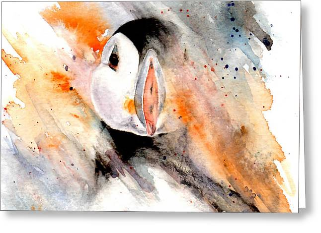 Storm Puffin Greeting Card