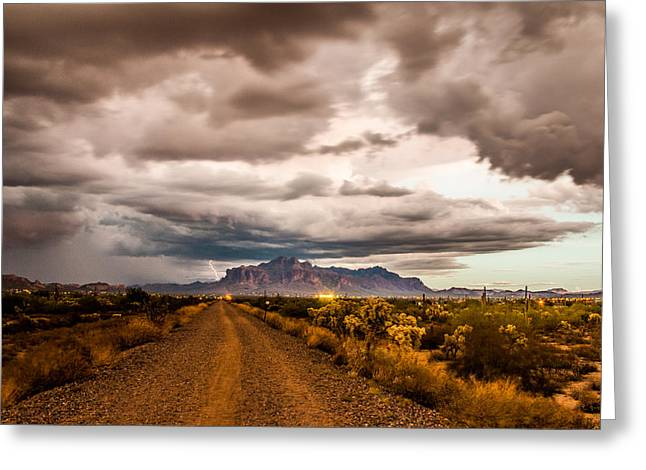 Storm Rolling Into The Superstition Mountains Greeting Card by Chuck Brown