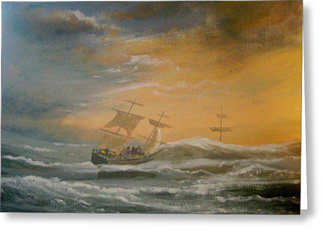 Storm Ships Greeting Card by Cathal O malley