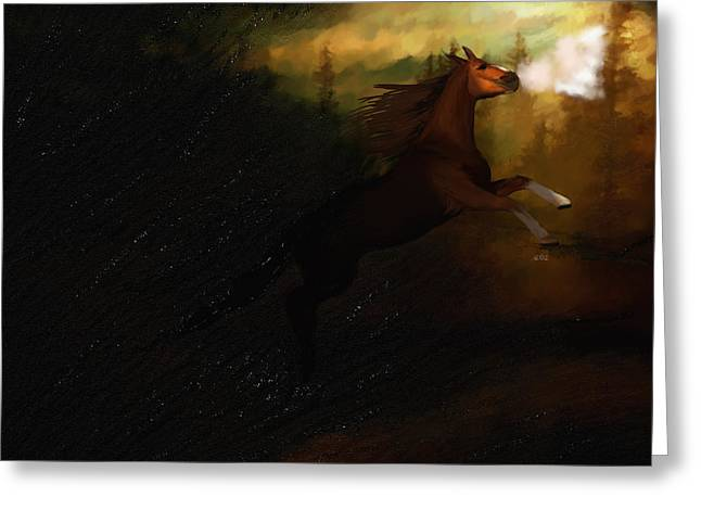 Storm Spooked Greeting Card by Angela A Stanton