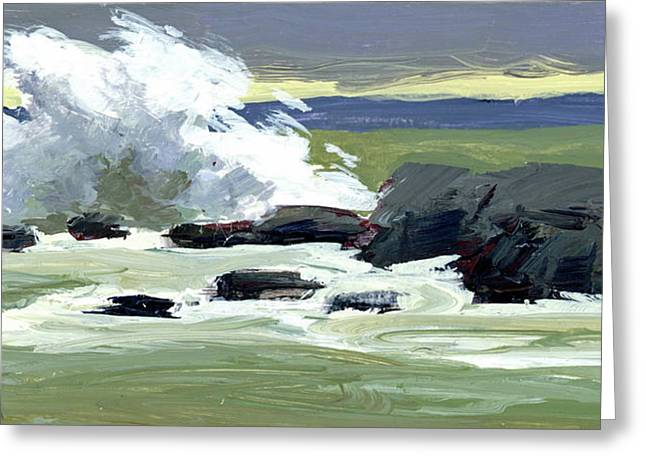 Storm Surf Greeting Card by Mary Byrom