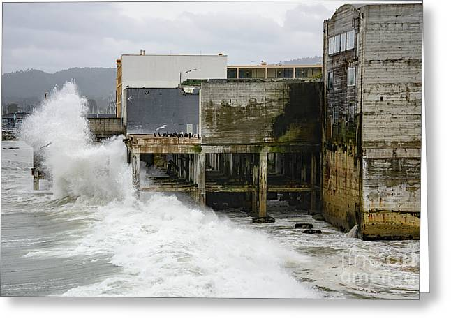 Storm Waves Hit Aeneas Ruins At Cannery Row Greeting Card