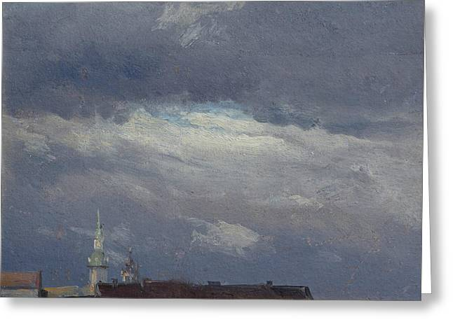 Stormclouds Over The Castle Tower In Dresden Greeting Card by Johan Christian Dahl