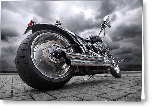 Storming Harley Greeting Card by Gill Billington