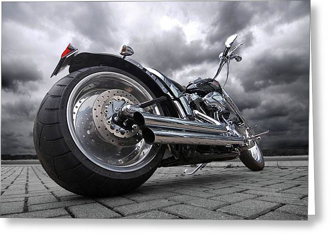 Road Trip Greeting Cards - Storming Harley Greeting Card by Gill Billington