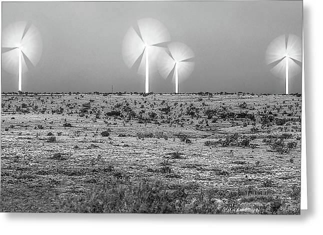 Storms And Halos Bw Greeting Card