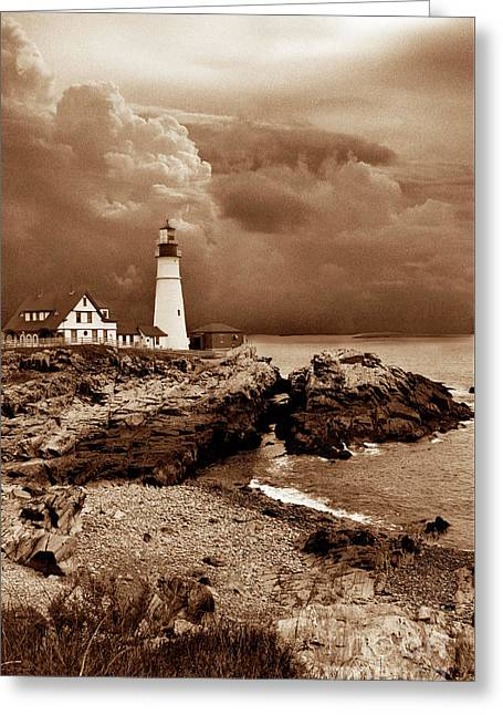 Storms Over The Head Sepia Greeting Card