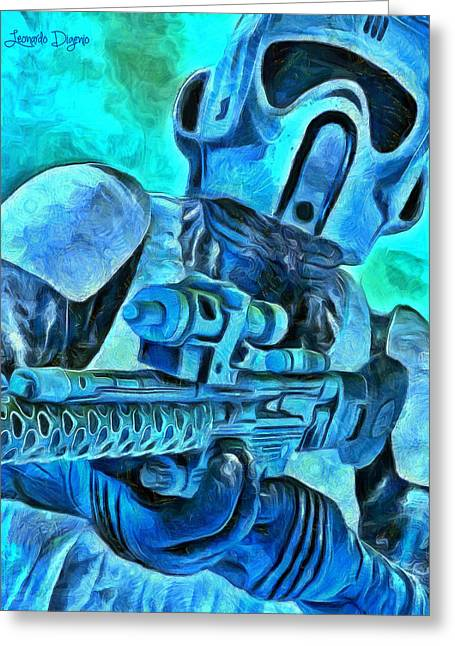 Stormtrooper And Weapon - Da Greeting Card by Leonardo Digenio