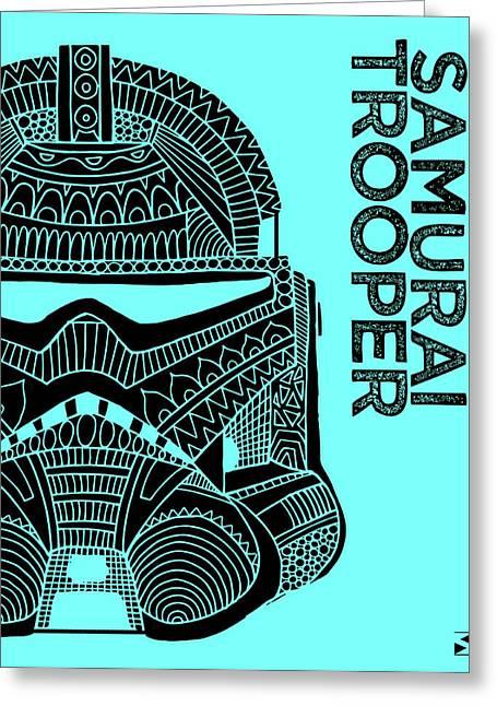 Stormtrooper Helmet - Blue - Star Wars Art Greeting Card