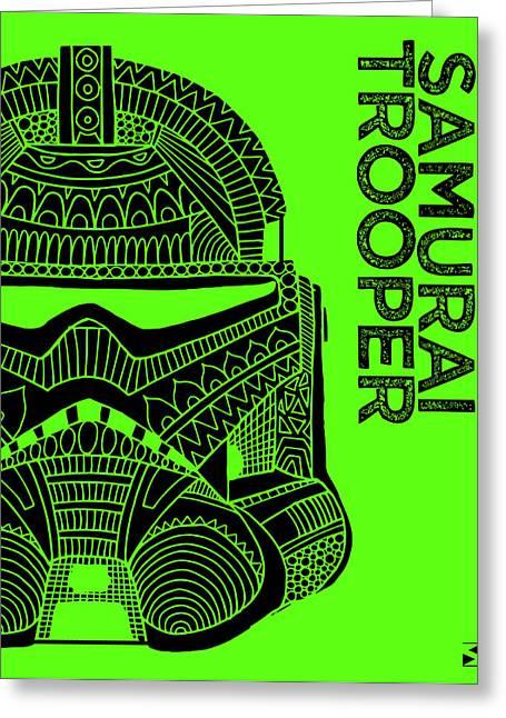 Stormtrooper Helmet - Green - Star Wars Art Greeting Card