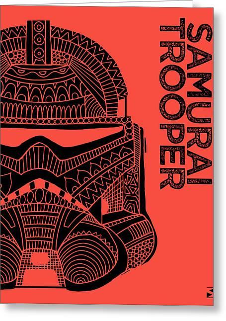 Stormtrooper Helmet - Red - Star Wars Art Greeting Card