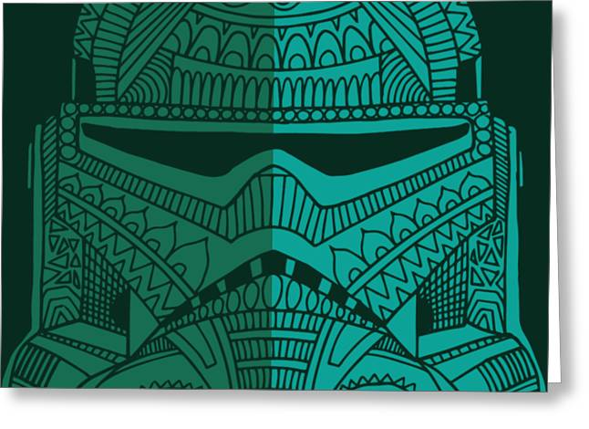 Stormtrooper Helmet - Star Wars Art - Blue Green Greeting Card