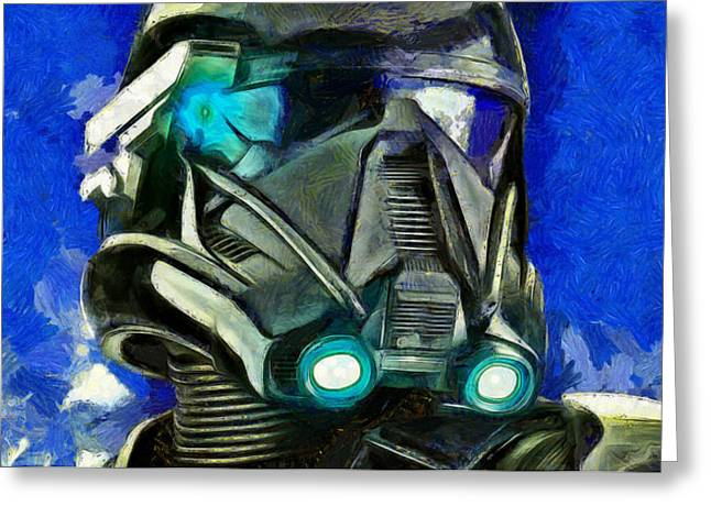 Stormtrooper Of Future - Da Greeting Card by Leonardo Digenio