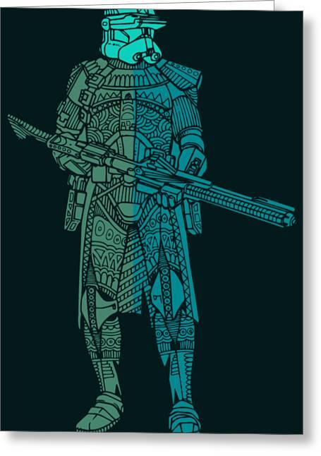 Stormtrooper Samurai - Star Wars Art - Blue, Navy, Teal Greeting Card