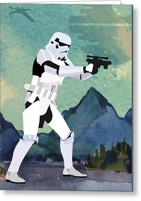 Stormtrooper Star Wars Character Quotes Poster Greeting Card by Lab No 4