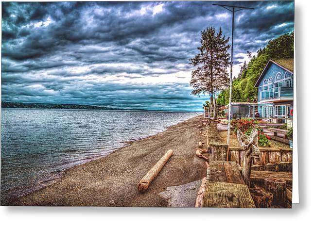 Stormy Beach Greeting Card by Spencer McDonald