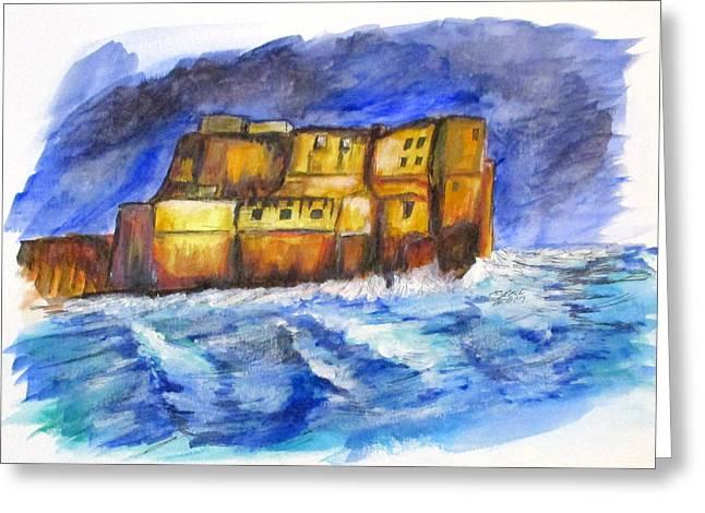 Stormy Castle Dell'ovo, Napoli Greeting Card