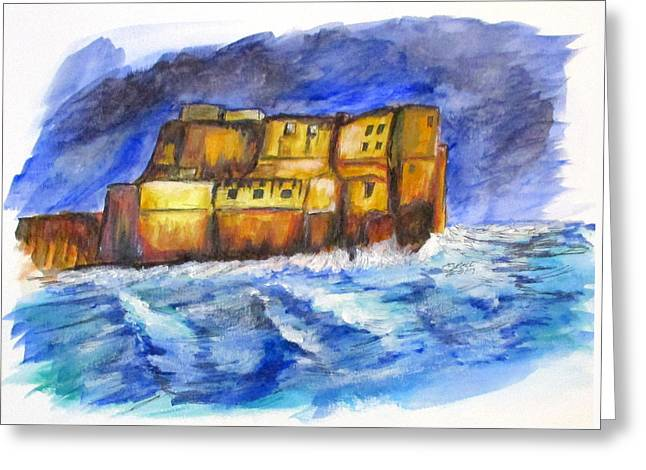 Stormy Castle Dell'ovo, Napoli Greeting Card