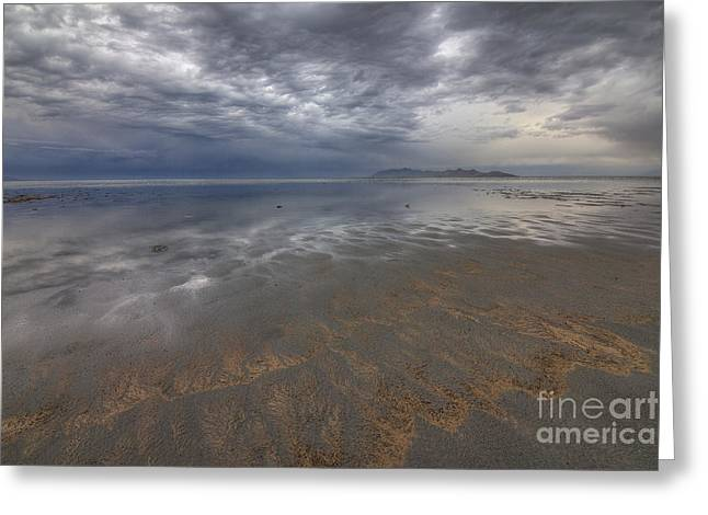 Stormy Clouds Over Antelope Island Greeting Card