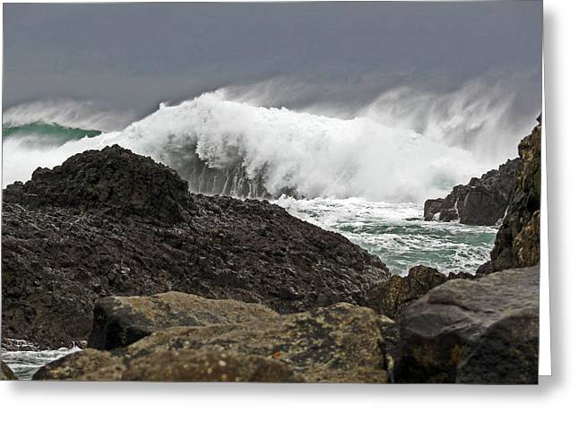 Stormy Day At Ballintoy Harbour Greeting Card
