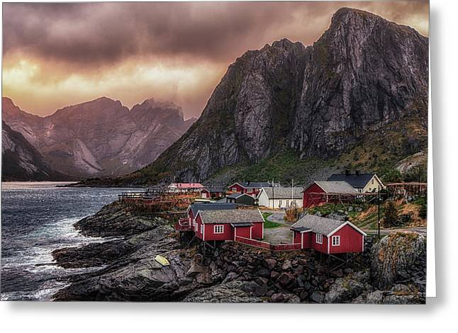 Stormy Hamnoy Greeting Card