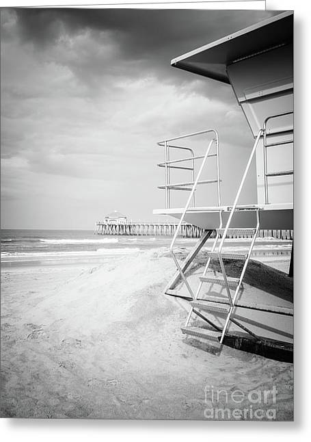 Stormy Huntington Beach Black And White Photo Greeting Card