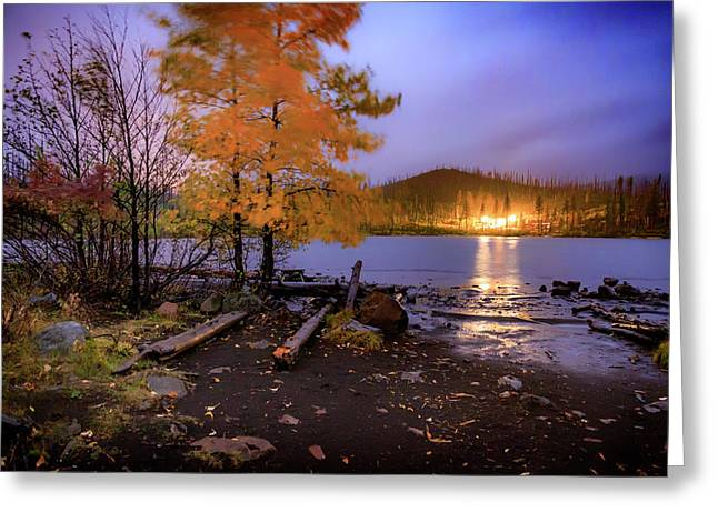 Greeting Card featuring the photograph Stormy Night At Round Lake by Cat Connor