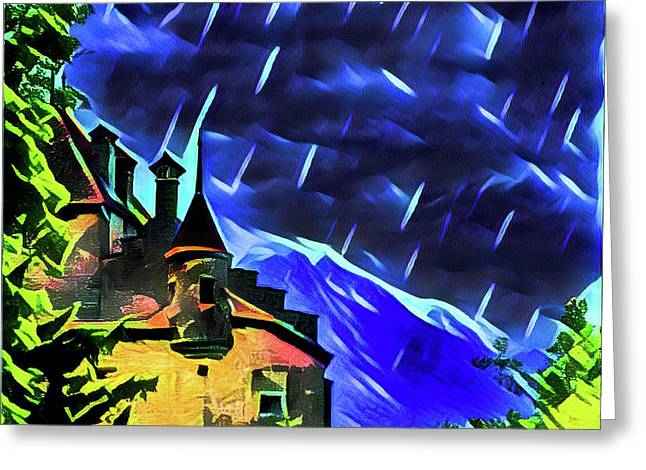 Stormy Night At The Chateau  Greeting Card