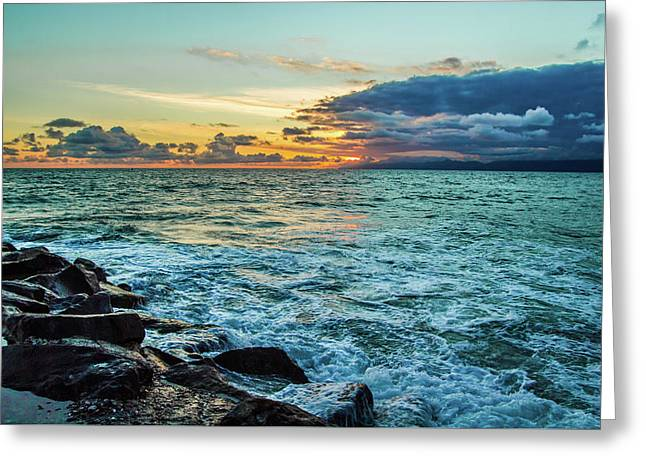 Stormy Ocean Sunset Greeting Card by April Reppucci